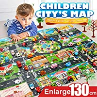CUEYU Kids Toy Mat, City Road Buildings Parking Map Game Scene Map Educational Toys - Baby, Children Educational Road Traffic Play Mat- Large Learning Carpets