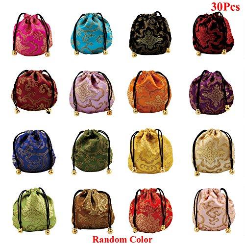 Seide Brokat bestickt Kordelzug Jewelry Geschenkbeutel Taschen, Körbe Kordelzug Münzfach (zufällige Farbe) ()