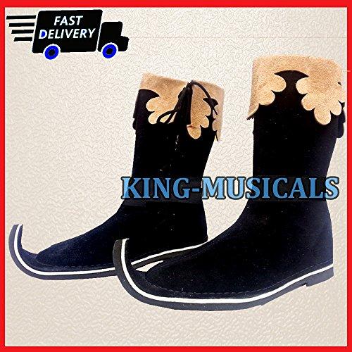NASIR ALI Mittelalter Stiefel Viking, Pirat, Renaissance Schuh Herren braun Leder Lang Schuhe Stiefel -