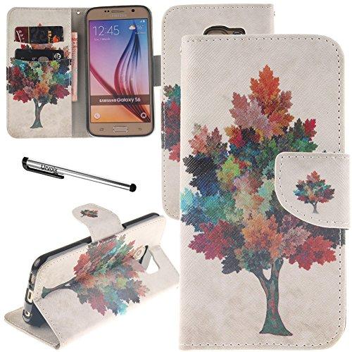 urvoix Galaxy S6Fall, Ständer Leder Brieftasche Fall-Colorful Ahorn Baum Flip Cover für G920Samsung Galaxy S6 -