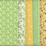 Textiles français - Juego de telas (5 piezas, 100 % algodón), color verde y amarillo
