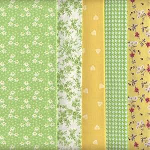 Textiles français Lot de 5 coupons de tissus assortis 100 % coton Vert/Jaune