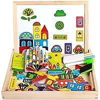 BEETEST Puzzles Rompecabezas Magnéticos juego tablero de dibujo conjunto doble cara desarrollo de madera juguetes educativos regalo para niños de 3 años - Peluches y Puzzles precios baratos