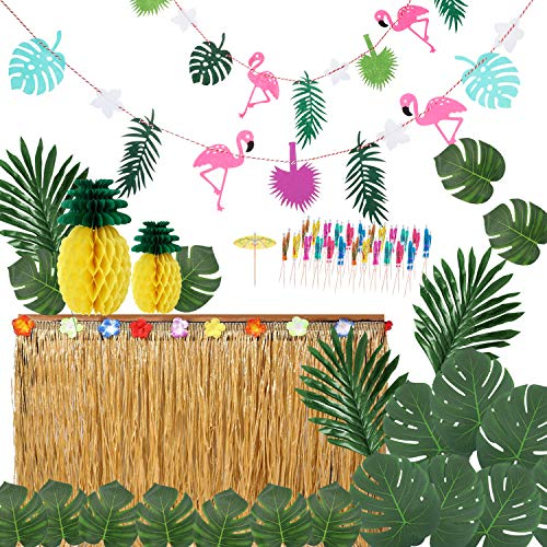 Ucradle Hawaiian Party Dekoration Kit (66 Stücke) Hawaii Luau Tischröcke Hibiscus Grass Tischrock Tropischen Banner Künstliche Palmenblätter, Foto Requisiten Zubehör für DIY Garten Beach Party Dekor