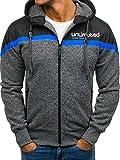 BOLF – Sport – Sweat-Shirt – con Cerniera – Felpa con Cappuccio – CROMN T986 – Uomo – XL Grigio-Blu [1A1]