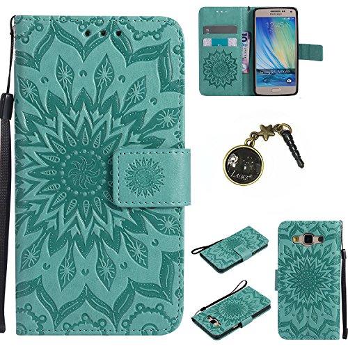für Smartphone Samsung Galaxy A5 (2015) Hülle,Echt Leder Tasche für Samsung Galaxy A5 (2015) Flip Cover Handyhülle Bookstyle mit Magnet Kartenfächer Standfunktion + Staubstecker (8)
