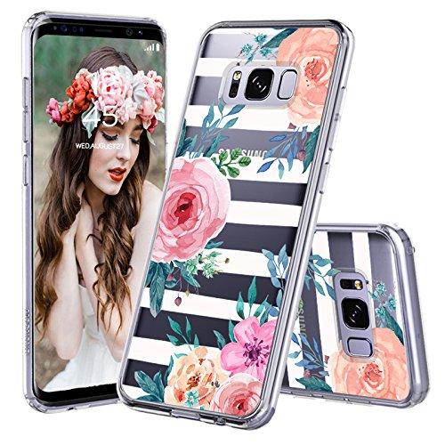 MOSNOVO Galaxy S8 Plus Hülle, Streifen Blumen Muster TPU Bumper mit Hart Plastik Hülle Durchsichtig Schutzhülle Transparent für Samsung Galaxy S8 Plus (Stripes Floral)
