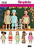 Burda Simplicity s7838. OS Schnittmuster Kleidung Puppe mit Papier weiß 21x 15cm