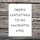 Divertente AF Cards lusso A5martello di Merry Christmas To my Favourite Wife palline/fiocchi font
