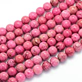 Edelstein Perlen Natur Crazy Achat Rund, 8mm, Pink, Schmuckdesign Bastelzubehör G418