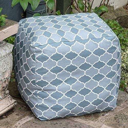 Izabela Peters Designer Wasserdicht Marokkanische Garten Außen Würfel Sitzkissen - Grau Badi, Marrakesch Sammlung - Entworfener, Bedruckt & Handgefertigt in Großbritannien - Sammlung Sitz