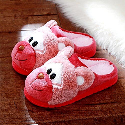DogHaccd pantofole,Cartoon carino pantofole di cotone coppia femminile di spessore di rimanere caldo inverno piscina antiscivolo pantofole di peluche maschio Il rosso1