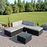 Abreo Rattan Wicker Weave Garden Furniture Conservatory Modular Corner Sofa Set (6 Piece Black with Light Cushions Lake Como)