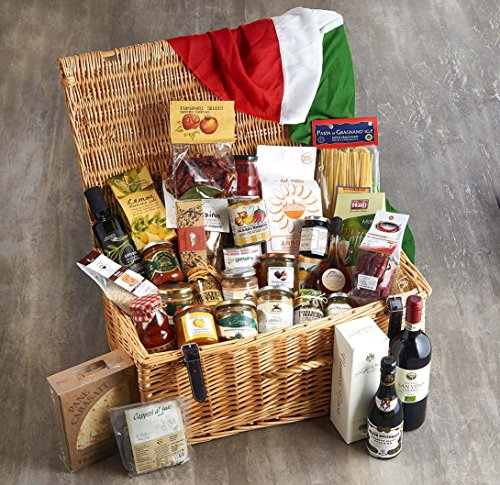 Gourmet Italian Delights Selection, deluxe gift box with Extra Virgin Olive Oil (500ml) Balsamic Vinegar from Modena (Aged 8 Years) (250ml) Organic Fairtrade Arabica Coffee (250g) Bitter orange marmalade (250g) Extra Fig Jam (250g) Sweet Sicilian Pistachi