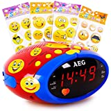 Réveil chambre d'enfants radio réveil écran DEL multicoloré autocollants smiley