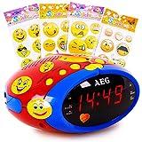 etc-shop Kinder Spiel Schlaf Zimmer Radio Wecker 24-Stunden Uhr im Set Inklusive Smiley Sticker