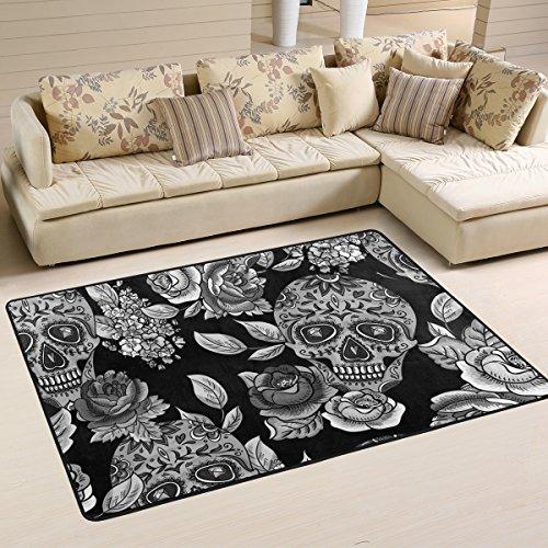 yibaihe leicht, Bereich Teppich Teppich dekorativen modernes Totenkopf mit Blumen wasserabweisend farbbeständige für Wohnzimmer Schlafzimmer, 91 x 61 cm - Dekorative Teppiche Moderne Teppiche