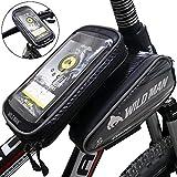 Fahrrad Rahmentasche DeFe Wasserdicht Oberrohrtasche Fahrradtaschen für Mountainbike mit Herausnehmbar Fahrrad Tasche Handy TPU Sensitive Touch-Screen (Passend bis zu 5,5-6.3 Zoll) (Schwarz)