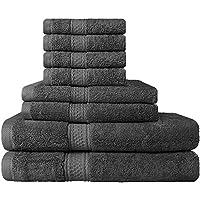 Set Premium di Asciugamani 8 Pezzi (Grigio); 2 Asciugamani da Bagno, 2 Asciugamani e 4 Salviette - Cotone - Qualità da Hotel, Super Morbida ed Altamente Assorbente da Utopia Towels