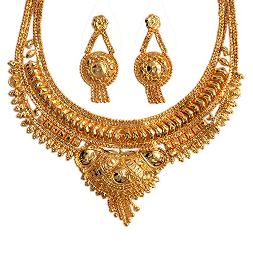 Mansiyaorange Traditional One Gram Gold Original Look Wax Forming Golden Necklace Set For Women  available at amazon for Rs.399