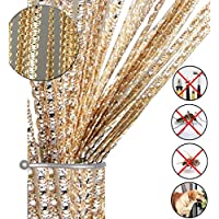 """AIZESI String Door Curtain Fly Insect Bug Screen String For Doorways Divider or Window Curtain Panel 39""""x78.5""""(Champagne)"""