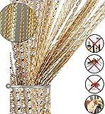 Glitzer-Fadenvorhang, Türvorhang, Insektenschutz, Türen-Trennwand oder Fenstervorhang, 99,1x 199,4cm champagnerfarben