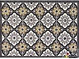 matches21 Fußabstreifer schmutzabsorbierend Schmutzfangmatte Retro Fliesen grau beige 50x70 cm maschinenwaschbar 30°C