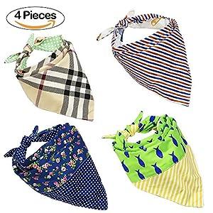 Lot de 4réversible Bandana pour chien pour animal domestique Chiot Bavoirs Triangle Tête écharpes Accessoires