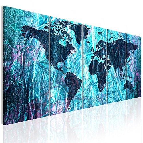 decomonkey Bilder Weltkarte 200x80 cm XXL Leinwandbilder Bild auf Leinwand Vlies Wandbild Kunstdruck Wanddeko Wand Wohnzimmer Wanddekoration Deko Kontinente Vintage abstrakt braun -