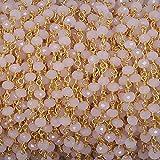 3piedi catena perline rosa calcedonio rosa 3mm-3.5mm rosario catena, catena placcato oro filo avvolto da Ladonarayani