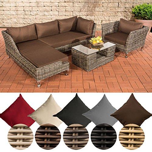 CLP Poly-Rattan Lounge Set MOSS, 5 mm RUND-Geflecht, 4 Sitzplätze, mit Ecksofa Rattan Farbe grau-meliert, Bezugfarbe: Terrabraun