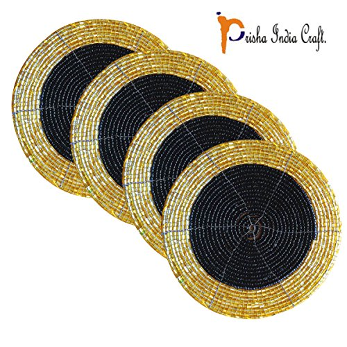Prisha India Craft ® Set of 4 Handmade Black & Golden Beaded Coffee Tea Coasters - Placemats for Tea cups - Set of Drink Coaster absorbent 4 Inches - Diwali Gift with WOODEN KEYRING  available at amazon for Rs.180