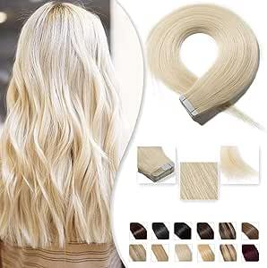 40cm Extension Capelli Veri Adesive 20 fasce 50g/set Remy Human Hair Tape in Lisci Umani Riutilizzabile Seamless, 60 Biondo Platino