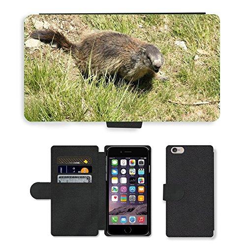 Just Mobile pour Hot Style Téléphone portable étui portefeuille en cuir PU avec fente pour carte//m00138478Marmot Animal Créature//Apple iPhone 6Plus 14cm