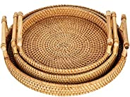 Hand-Woven Rattan Rectangular Serving Tray with Handles for Breakfast, Drinks, Snack for Coffee Table, Set of