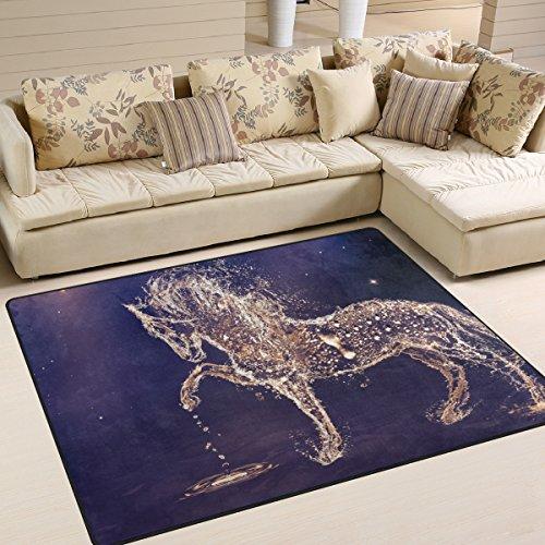 coosun agua caballo gotas área alfombra alfombra alfombra de suelo antideslizante Doormats para salón o dormitorio, tela, multicolor, 80 x 58 inch