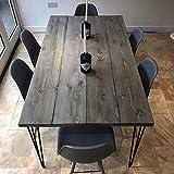 Juego de 4 patas de acero Hahaemall para mesa de madera (sin el tablero), diseño con 3 varillas de...