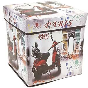 tabouret pouf pliable coffre de rangement design vintage paris cuisine maison. Black Bedroom Furniture Sets. Home Design Ideas