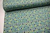 Stoff / 100cmx140cm / Kinder/Beste Jersey-Qualität/Jersey Ornamente grün, lila auf türkis