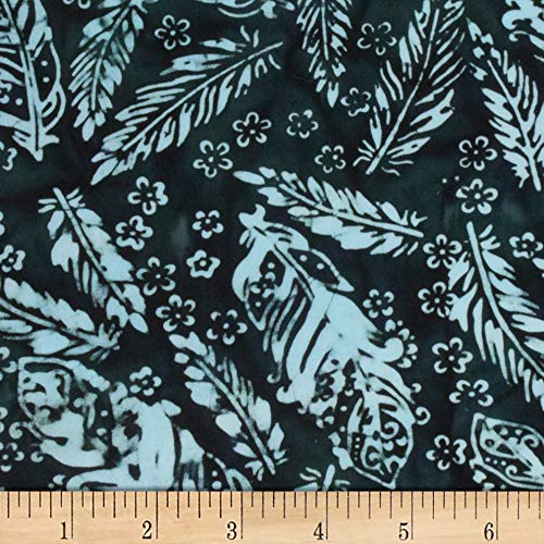 Northcott 0601095 Banyan Batiks Feathers Small Florals & Feathers Black/Teal Fabric Stoff, Textil, Schwarz/Blaugrün, By The Yard -