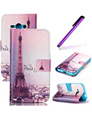 Samsung Galaxy J5 Funda,Samsung Galaxy J5 Case,Samsung Galaxy J5 Cover,EMAXELERS Synthetic PU Cuero Billetera Iman Diseño Flip Stand Funda Cover Para Samsung Galaxy J5 + Send 1 Stylus Pen Eiffel Tower