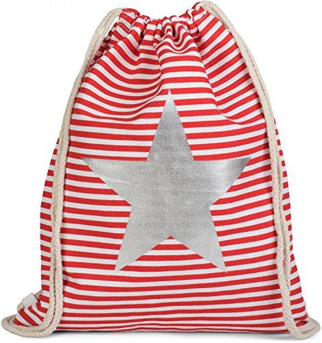 styleBREAKER zaino sportivo dal design marinaresco a righe con stampa di stella, borsa da sport, unisex 02012053, colore:Petrolio-Bianco / Oro Rosso-Bianco / Argento