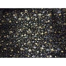 Tissus NOIR Organza ETOILES or argent NOEL au mètre nappe chemin de table déco largeur 150 cm