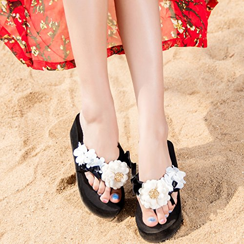 ZYUSHIZ Hausschuhe Sandalen Strand Outdoor der minimalistischen Stil Frau Schwarz6 CM