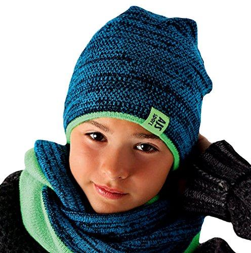 AJS Jungen Kinder Winterset Wintermütze Strickmütze Beanie Mütze Loopschal mit Wolle Farbe Neongrün