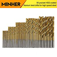 MINHER 50PCS Micro Bohrer Set 1/1,5/2/2,5/3mm Titanium Coated HSS High Speed Metallbohrer Spiralbohrer Bohrersets Profi Drill Bit