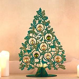 Weihnachtsdeko   Adventsdeko   Dekobaum Lovedeer grün-gold   ca. 40 cm hoch 27 cm breit   mit 8 Glaskugeln   in edlem Geschenkkarton geliefert.