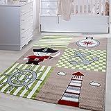 Kinder Teppiche für Kinderzimmer, Babyzimmer, Spielteppich Pirat Motiv kariert, Multi Farben Beige Grün Rot Schwarz Weiss_0450, Maße:80x150 cm