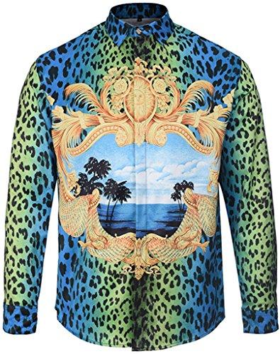 Pizoff Herren luxus palace Still fashion langärmliges Hemd Hip-Hop Tops mit grün blau palm urlaub Leopard Druckmuster, Y1792-05, Gr. M (Leopard-print-jeans)