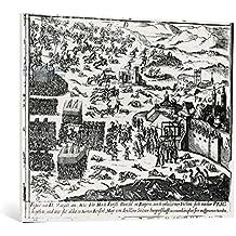 """Cuadro en lienzo: German School """"Defenestration of Prague, 1618"""" - Impresión artística de alta calidad, lienzo en bastidor, 100x80 cm"""